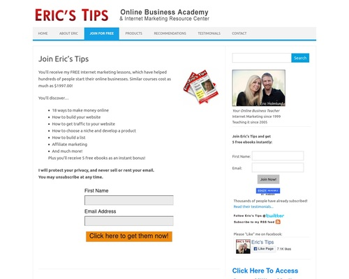 Eric's Tips - Internet Marketing Newsletter - Over 80,000 Subscribers!